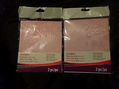 Sculpey 2pks FLEXIBLE TEXTURE SHEETS Add texture 2 your CLAY 14 Patterns  $SALE$