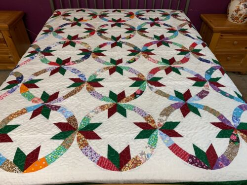 Queen size  machine pieced and quilted  Patchwork quilt / #NJ-83Q