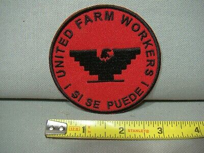 Red w/ black United Farm Workers patch Si Se Puede patch UFW patch huelga patch