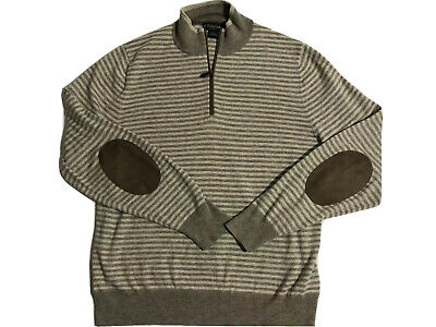 Brooks Brothers Cotton wool Blend quarter zip sweater Elbow Patches Mens Size L