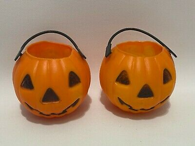 Lot (2) Vintage Halloween Mini Candy Pail Bucket Jack O Lantern Ghost Blow Mold