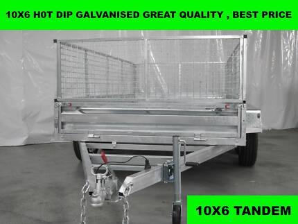 10X6 HOT DIP GALVANISED TRAILERS 2000 KG GVM ON SALE NOW