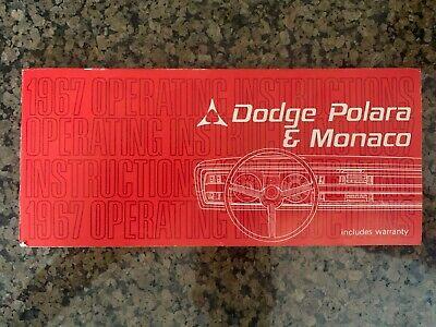 1967 Original Vintage Dodge Polara & Monaco Chrysler Owners Manual
