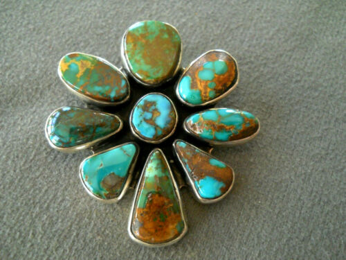Native American Navajo Royston Turquoise Cluster Sterling Silver Pendant Pin