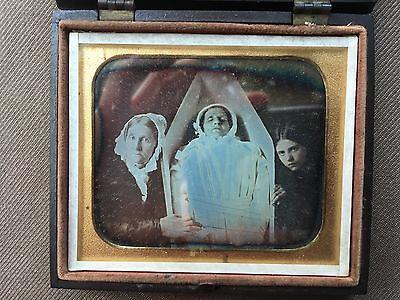 Postmortem Daguerreotype Woman in Casket 1/6th Plate