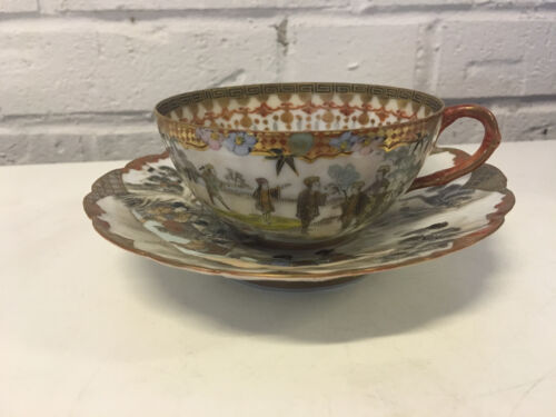 Antique Japanese Signed Likely Meiji Period Porcelain Cup & Saucer Figures Dec.