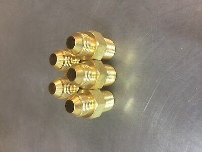 5 Pcs B-2404-06-06 Brass Hydraulic Adapter Fitting 38 Male Jic X 38 Male Npt