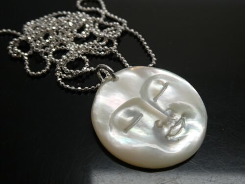 """Vintage Moon Face Carved Mother of Pearl Shell 925 Pendant Necklace SP 24"""" Chain"""