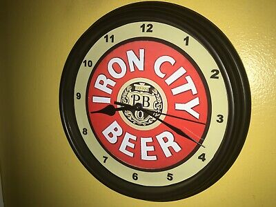 Iron City Beer Bar Advertising Man Cave Wall Clock Sign