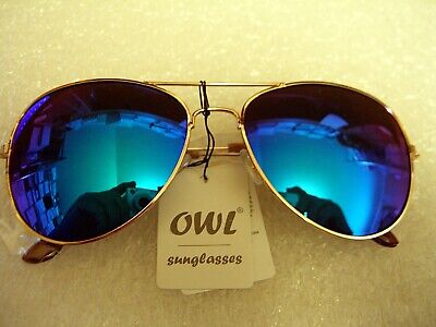 AVIATOR SUNGLASSES VIVID BLUE MIRROR LENS WITH GOLD FRAME (Vivid Sunglasses)