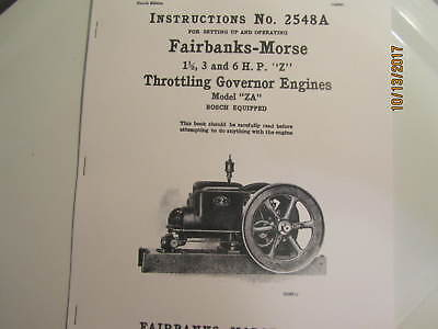 Bosch Model Engine - 1919 Fairbanks Morse model ZA Gas Engine with Bosch  Instruction/Parts  Manual