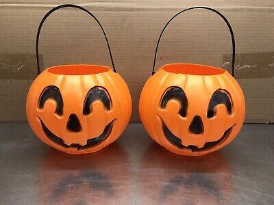 Blow Mold Halloween Pumpkin Pails Carry Jacks Union products Heavy Plastic Pair