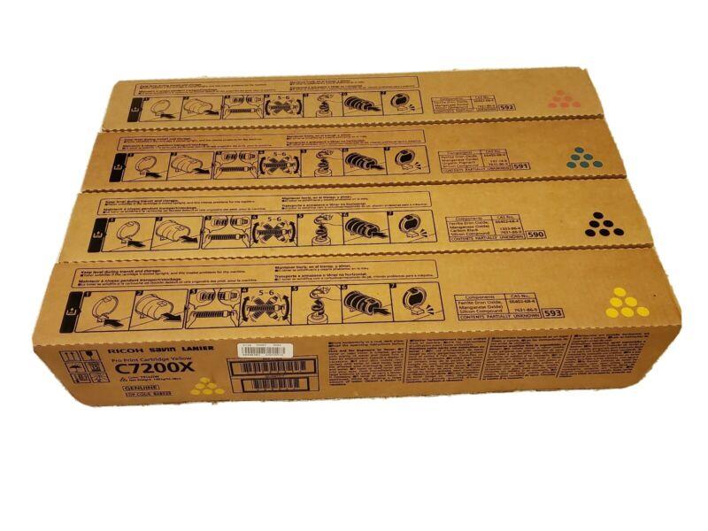 Genuine OEM Ricoh C7200X CMYK Pro Print Cartridge Set EDP:828528 - 828531