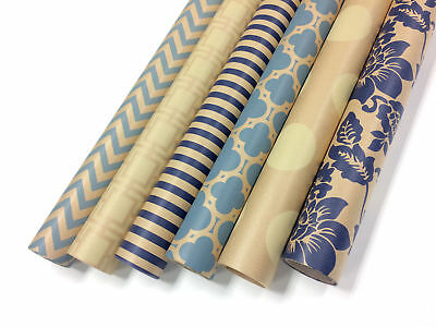 Kraft Blue and Cream Wrapping Paper - 6 Rolls - 6 Patterns - 30