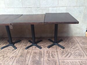 """Wood tables with heavy iron base 30"""" X 24"""""""