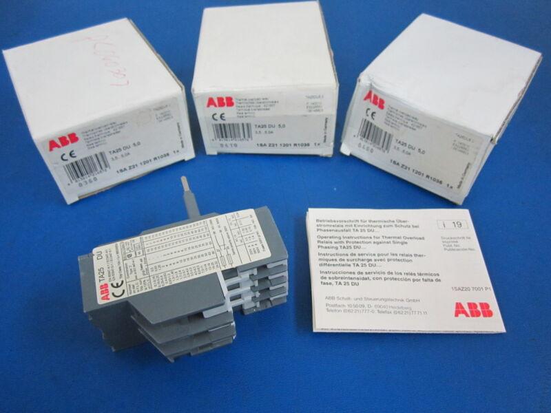 Lot of 3 ABB Overload Relays TA25 DU 5