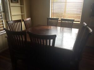 Solid timber square 8 seater dining table with chairs Kallangur Pine Rivers Area Preview