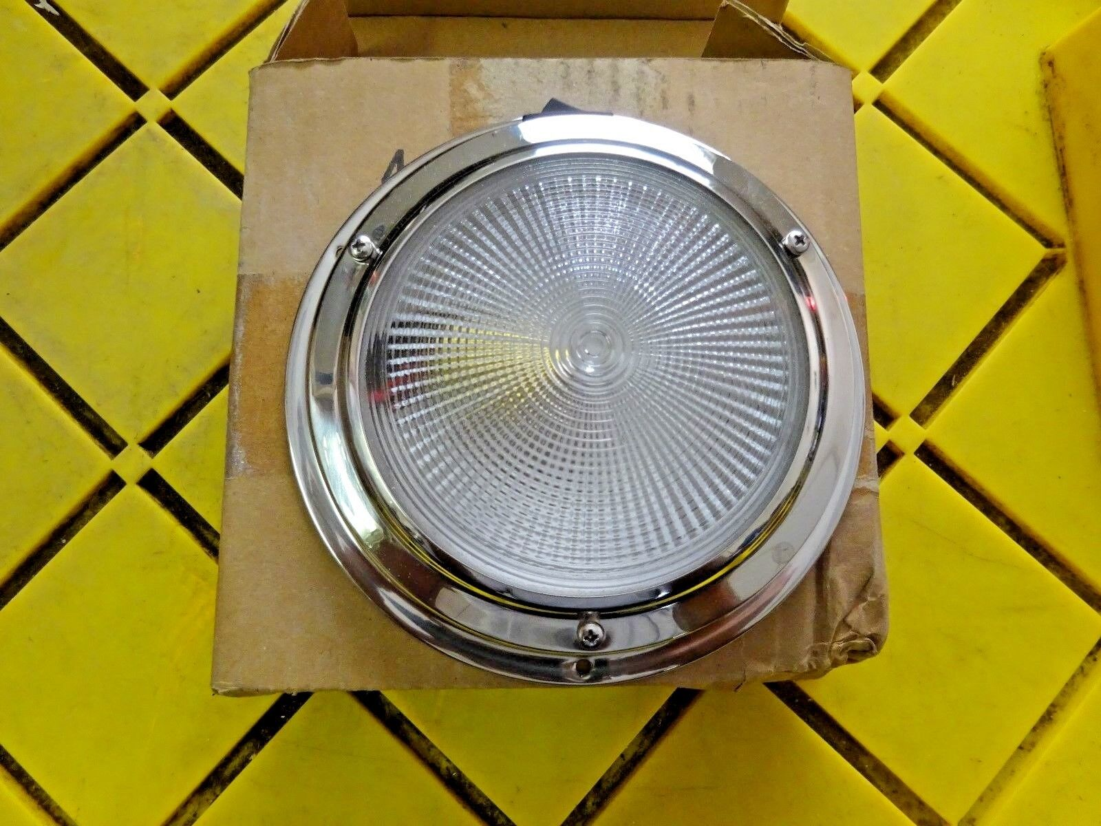 "Dome Light - 4"" OD Lens - Stainless Steel - NEW IN BOX  BOAT  RV"
