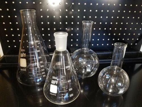 Chemistry Glassware Lot of 4 Erlenmeyer Flask Flat Bottom Round Boiling Flasks