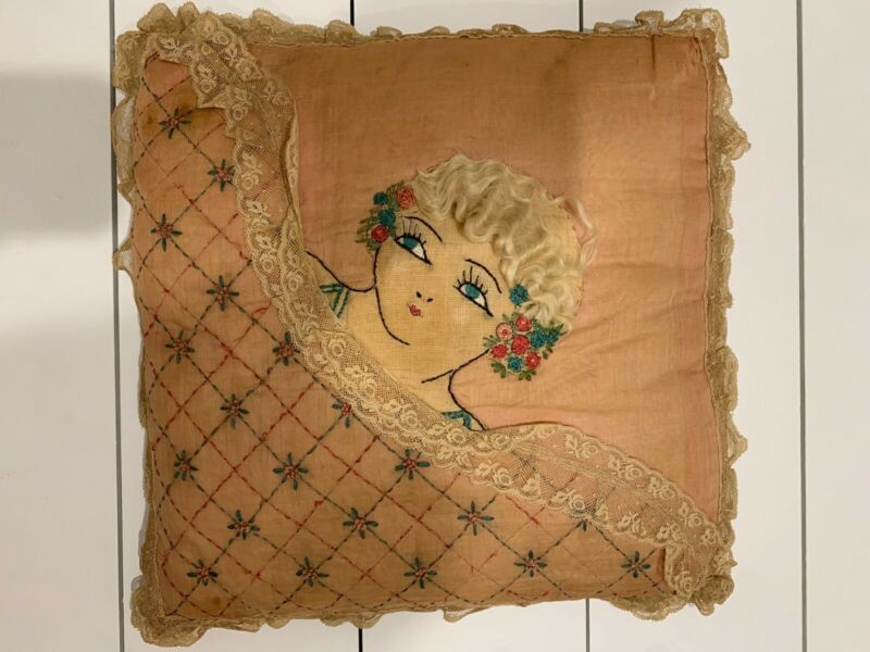 "Antique 1920s Hand Embroidered Flapper Face Throw Pillow With ""Hair"""