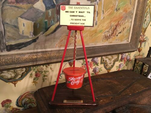 Vintage Salvation Army Recognition Award Miniature Bucket Stand