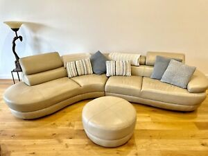 5 seater custom made Leather Couch with leather foot stool