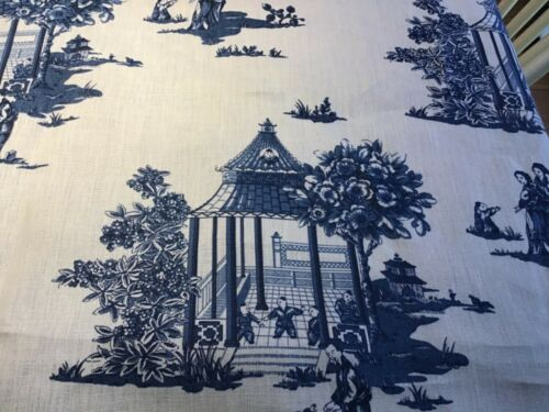 New Designer chinoiserie Pagodas  Toile  Blue on White Linen Fabric BTY