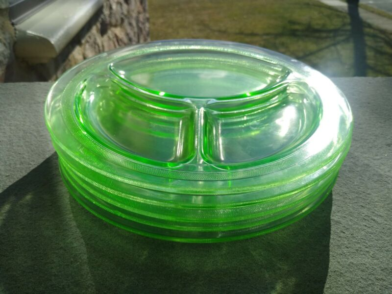 Vintage Smith Glass Homestead Green Depression Grill Plates Lot Of 5 1920s - 30s