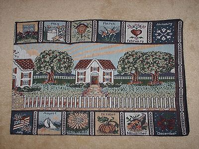 country home hearth monthly calendar tapestry table