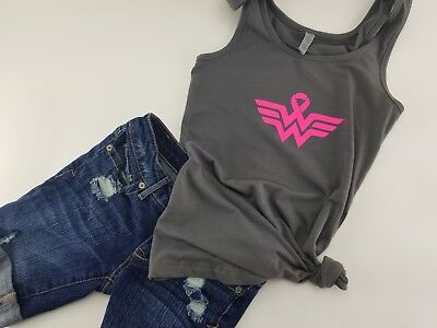 Breast Cancer Tank, breast cancer awareness shirt, pink ribbon, wonder woman - Pink Wonder Woman