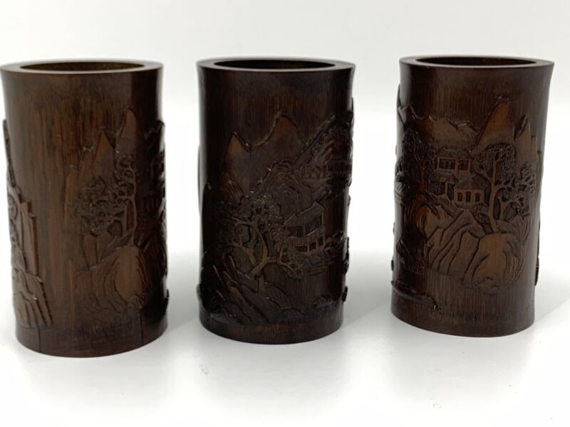 Set Of 3 Antique Chinese Carved Bamboo Brush Pot / Vases Chinese Landscapes