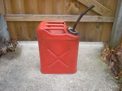 Vintage 1980 Us Red 5 Gallon Steel Usmc Jerrycan Gas Can With Spout