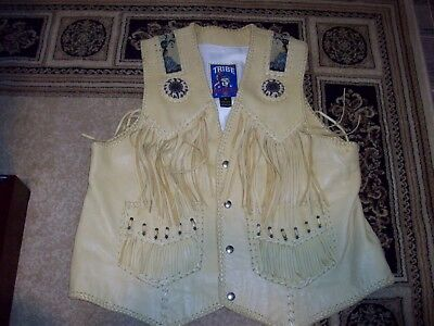 TRIBE AMERICA Western Tan LEATHER Beaded Fringe VEST Mens Size 48 - Made in USA
