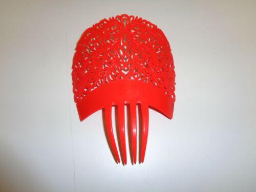 Vintage Red Plastic Hair Comb