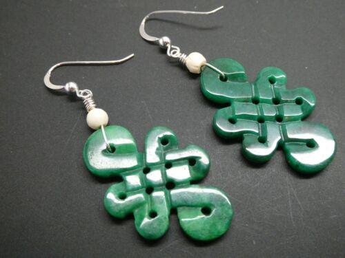 Tibetan Eternal Endless Green Jade Gemstone Lucky Sterling Dangle Earrings