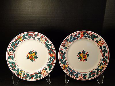 """TWO Sango Christmas Morning Salad Plates 7 1/2"""" 8846 Set of 2 EXCELLENT!"""