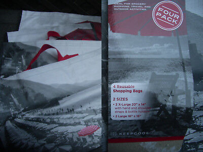 NEW B&W 4 PACK Costco reusable grocery tote school shopping travel bag reuseable (Adults Shop)