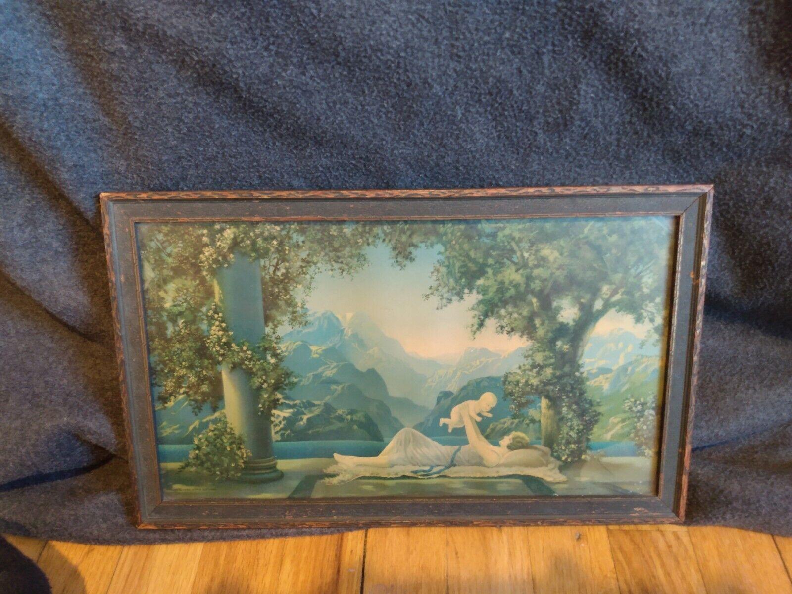 Original 1925 Art Deco Lithograph Print R Atkinson Fox Love s Paradise Framed - $24.50