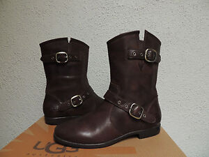 ugg frances brown 2 tone leather shearling buckle boots us