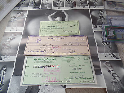 John Houseman 3 Jack Haley Rudy Vallee LOT 3x auto hand SIGNED check autograph