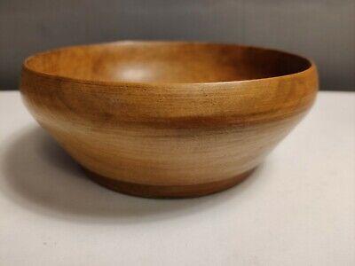 VTG Retro Old Turned Wooden Bowl 19cm Boho Decor Leather Base Dish Fruit
