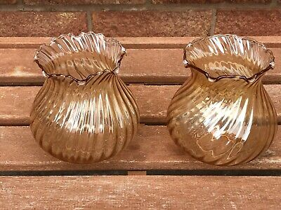 Pair Vintage Retro Glass Lamp Shades 12.5cm Diameter 1950's 1960's Light Brown