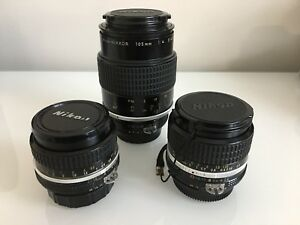 Nikon Nikkor 24mm 50mm 105mm Lenses