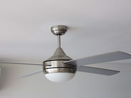 3 matching Stainless steel ceiling fans with lights