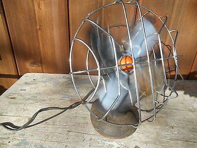 "Vintage  1920's? 9"" Cage Table/Desk Electric Fan Cast Iron Base & Housing"