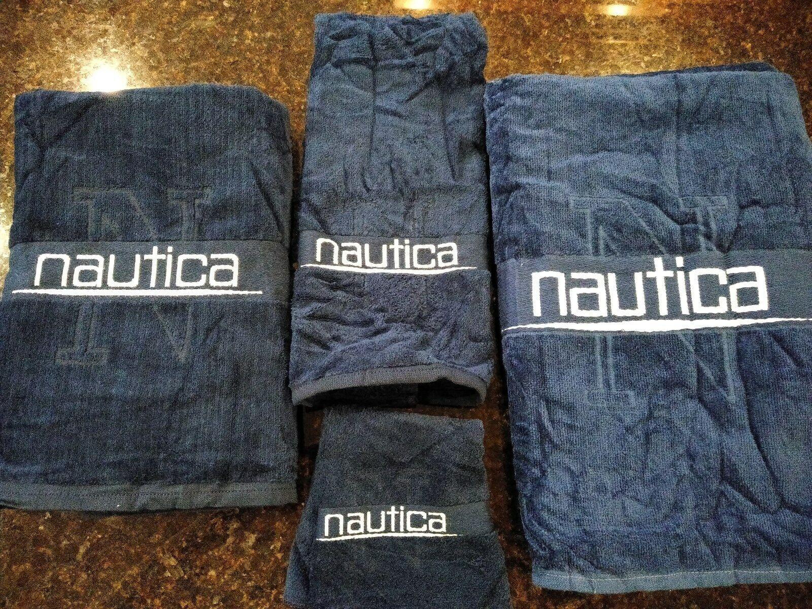 NAUTICA SCULPTED LOGO NAVY BLUE & WHITE TOWEL SET:BATH/WASHC