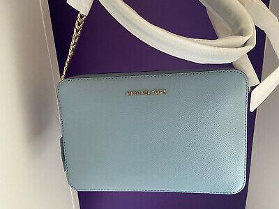 BNWT Michael Kors Jet Set Travel East West Blue Leather Crossbody Bag, Pale Blue