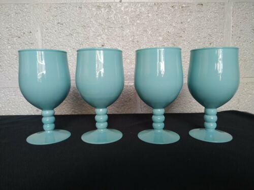 Set of 4 Vintage French Blue Opaline Milk Glass Footed Glasses Goblets
