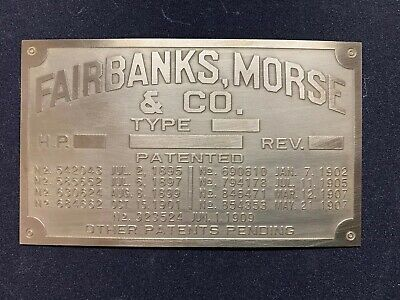 Fairbanks Morse T Vertical Brass Data Plate Tag Antique Gas Engine Hit Miss