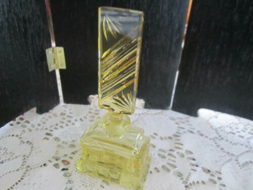 Antique Art Deco Czech / Czechoslovakia  Yellow  Signed Perfume Bottle